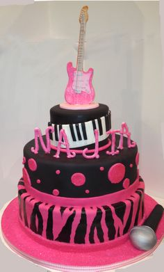 Hot Pink Zebra Guitar Sweet Sixteen Birthday Cake