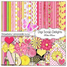 Pink &Yellow Digital Scrapbook Kit: Strawberry Lemonade for Digital Scrapbooking, Card Making, Web Design, Photo Cards, Instant Download by DigiScrapDelights on Etsy https://www.etsy.com/listing/87678325/pink-yellow-digital-scrapbook-kit