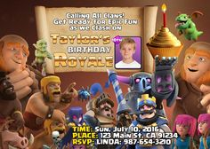 Personalized Clash Royale Birthday Invitation, available at EditMyPic.com