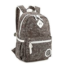 Wowlife Unisex Fashionable Canvas Backpack School Bag Super Cute Stripe School College Laptop Bag for Teens Girls Boys Students (Black)