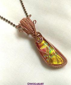 Long Pumpkin Dichroic Glass Necklace Halloween Jewelry