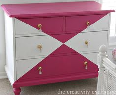 Tutorial for creatively painting children's furniture. Dresser painted with Velvet Finishes in the color Glamourous {The Creativity Exchange