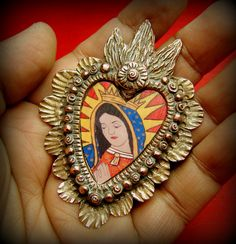 CORAZON Lorena Angulo Copper and an image of my painting of Virgen de Guadalupe. Religious Icons, Religious Jewelry, Religious Art, Jewelry Crafts, Jewelry Art, Mexican Heritage, Metal Embossing, I Love Heart, Precious Metal Clay