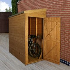 This is the type of shed I need for what little outside equipment I have (mower, clippers, hose, etc). Add a few hooks or shelves for even more versatile storage. #BuildIt