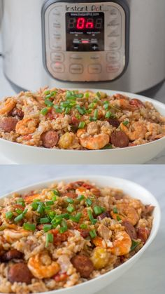 This Instant Pot Jambalaya recipe is a Cajun inspired one dish recipe with shrimp, andouille sausage, chicken and rice that will make a spicy dinner. Using a pressure cooker makes it a quick and easy weeknight dinner! Cajun Chicken And Rice, Chicken And Sausage Jambalaya, Chicken Pasta Recipes, Sausage Recipes For Dinner, Instant Pot Dinner Recipes, Jumbalaya Recipe, Jambalaya Recipe Instant Pot, New Orleans Recipes, Pressure Cooker Recipes