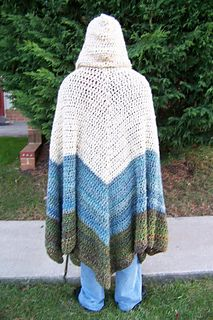 This is a very warm (but not windproof) hooded cloak. It is especially excellent to use around the house in the winter. The difficulty of this pattern is mostly endurance rather than complicated stitches.