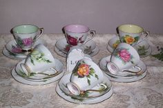 Vintage Harlequin China Tea Set - Harry Wheatcroft Famous Roses - Roslyn - English Bone China - find it in my online Etsy shop, PrettyVintageHome.