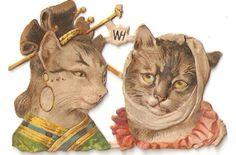 Victorian Scrap Geisha Cat Die Cut