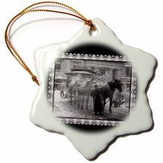3dRose The Terminal New York City taken by Alfred Stieglitz Horses pulling a trolly in New York City, 1893, Snowflake Ornament, Porcelain, 3-inch