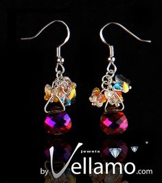 Earrings with pink colored Swarovski crystals and by byVellamo, SOLD