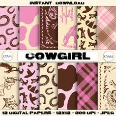 Pink Brown Cowboy Scrapbook Digital Paper: Instant Download. Pink Brown Cowgirl pattern. Checkered fabric Bandana #BabyScrapbookIdeas #BabyScrapbook #BabyGirl #DigitalPaper #ScrapbookPaper pink paper baby girl girl paper scrapbook paper digital pattern party supplies cow print bandana checkered cowboy cowgirl 1.99 USD