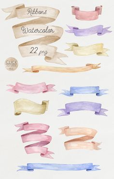 Watercolor ribbons set by NataliVA on Creative Market