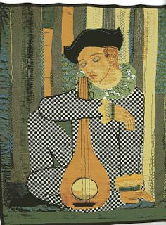 "Martha Mood stitchery: ""Harlequin"" pre-1968, signature lower right corner in dark green thread"