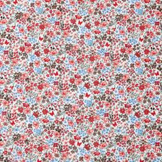 Red/Blue Floral Combed Cotton Voile Fabric by the Yard   Mood Fabrics