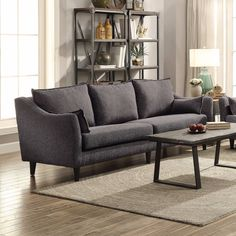 Modern Mid Century Dark Gray Grey Tweed Like Sofa Living Room Furniture