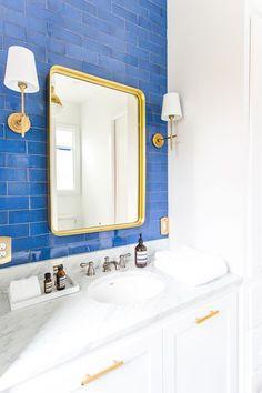 Lake house master bathroom reveal - handmade blue tile - Mercury Mosaic tile - Visual Comfort lighting - bathroom vanity - blue subway tile - cobalt subway tile - white cabinets - colorful master bathroom - hex tile floor - patterned hexagon floor tiles - Lake Bathroom, Small Bathroom, Master Bathroom, Bathroom Ideas, Blue Bathrooms, Office Bathroom, Basement Bathroom, White Bathroom, Bathroom Organization