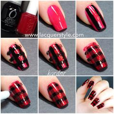 Red & Black Plaid Nails Tutorial by lacquerstyle, via Flickr
