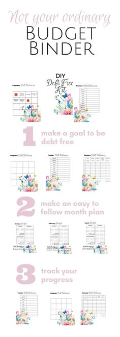 Debt free worksheets and Budget Templates don't have to be boring and ugly. Get these beautiful monthly budget pages and debt snowball tracker printables. Perfect for your personal planner, family binder, bulletin board or post them right on the fridge. Get complement if you are following Dave Ramsey's Baby Steps and great for getting setup on a cash envelope system! You got this!