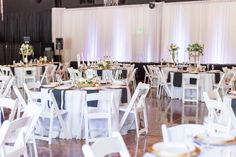 Reception Tables White Chairs White and Black Linens | The-Palms-Chico-California-Wedding-Photographer-TréCreative