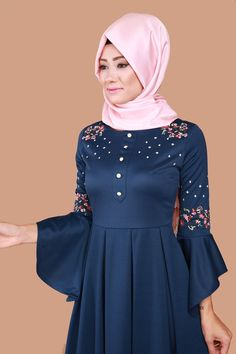Volan Kol Nakışlı Elbise MDB3839 İndigo