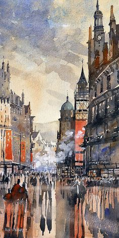 """Buchanan Street No.2 Glasgow by Iain Stewart Watercolor ~ 20"""" x 10"""", my family name, at least the ones from Scotland!"""