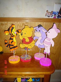 Set/ 4 Baby Winnie the Pooh party table decorations supplies