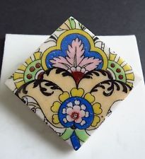 Hand painted blue yellow flower design ceramic brooch   iv