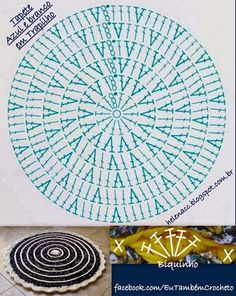 15 Trendy Ideas For Crochet Rug Patterns Large Crochet Circle Pattern, Crochet Rug Patterns, Crochet Circles, Crochet Doily Patterns, Crochet Diagram, Crochet Doilies, Crochet Stitches, Crochet Granny, Double Crochet