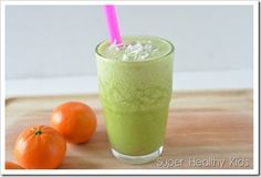Green smoothies with delicious Florida orange juice add zing plus sweetness.  So good! #smoothies4kids from Super Healthy Kids