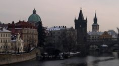View of Charles Bridge and the Old Town at dusk, Prague