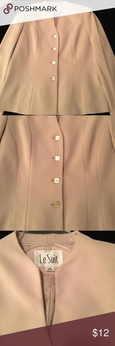 """Le Suit Jacket Size 12 Cream Color Jacket.  Length of the sleeves is 24"""".  Overall length of the jacket is 24 1/4"""" there are 4 pearlized button on the front of the jacket. Bust area measures approximately 40"""".  Would be perfect for the office with a pair of black or brown slacks. Le Suit Jackets & Coats Blazers"""