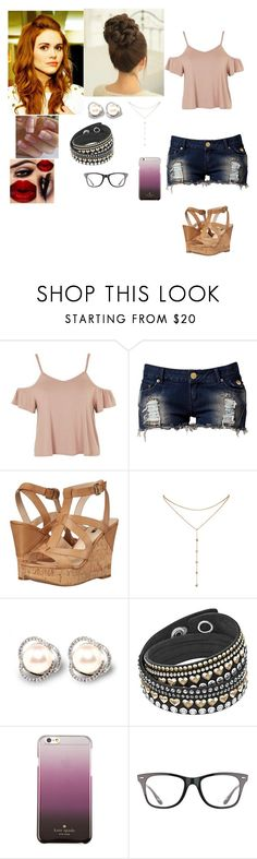 """Hanging out with Holland Roden"" by cherylkinberg97 ❤ liked on Polyvore featuring Topshop, Club L, GUESS, GUESS by Marciano, Kate Spade, Ray-Ban, Heels, TeenWolf, glasses and HollandRoden"