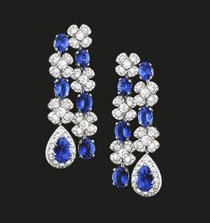 Sapphire and Diamond Earrings | Magnificent diamond and sapphire drop earrings reflecting the beauty of nature.  Sapphires 20.42 cts Diamonds 7.74 cts  #houseoftabbah #tabbah