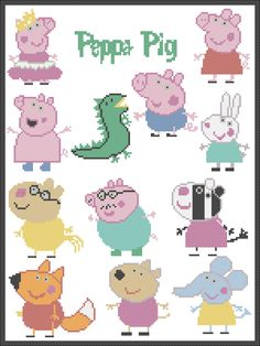 PDF - PEPPA PIG- cross stitch pdf Pattern - pdf pattern instant download by Rainbowstitchcross on Etsy