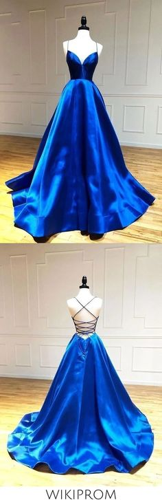 Simple A Line Satin Spaghetti Straps Royal Blue Long V Neck Prom This dress could be custom made, there are no extra cost to do custom size and color Blue Evening Dresses, Cute Prom Dresses, Backless Prom Dresses, Ball Dresses, Pretty Dresses, Chiffon Dresses, Long Dresses, Formal Dresses, Classy Dress