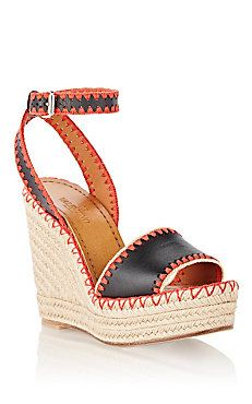 Embroidered Wedge Espadrilles