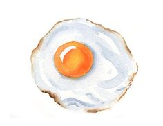 Fried Egg Art Print Kitchen Wall Decor Watercolor image 1 Best Picture For food art animals For Your Watercolor Food, Watercolor Images, Watercolor Trees, Watercolor Illustration, Simple Watercolor, Tattoo Watercolor, Watercolor Animals, Watercolor Background, Watercolor Landscape