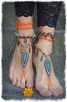 Reserved / Indie BAREFOOT sandals Brass Anklets crochet Gypsy Sandals sole less shoes Wanderlust crochet anklets Orange Barefoot Wedding via Etsy