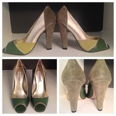 STEVE MADDEN Leather Colorblock Peep Chuck Heel, 6 Great mix of sage and pear green with metallic gold. Leather top and soles. Suede heel. Worn ONCE! Make me an offer!! Trying to simplify as I have toooooo many pairs of shoes (guilty pleasure!) Steve Madden Shoes Heels