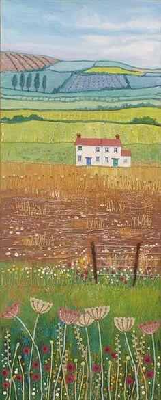 Distant Hills by Josephine Grundy Landscape Quilts, Landscape Art, Landscape Paintings, Mixed Media Canvas, Mixed Media Art, Map Painting, Naive Art, Landscape Illustration, Art Pictures