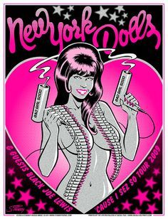 "New York Dolls with Black Joe Lewis • 'Cause I Sez So tour poster, 2009 • 16"" x 22"", three-color silkscreen with metallic ink. ©2009 Greg Stainboy Reinel"