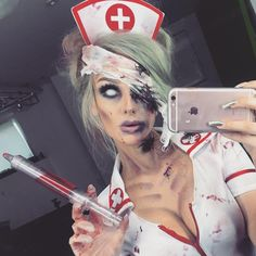 """""""Mi piace"""": 10.6 mila, commenti: 53 - Ellimacs SFX Tutorials (@ellimacssfx) su Instagram: """"Fast & easy zombie nurse online link in bio! Trying to mix it up with the looks some crazy mask…"""""""