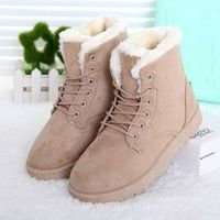 Wish | Hot Women Boots Snow Warm Winter Boots Botas Mujer Lace Up Fur Ankle Boots Ladies Winter Shoes Black