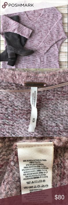Free People Alpaca Sweater Free People from Urban Outfitters SZ Medium Heathered Lilac Alpaca Sweater with Dolman sleeves . Fabric Content: 30% Alpaca, 27% Nylon, 17% Acrylic, 13% Mohair, & 12% Polyester. SUPER SOFT! EUC. Free People Sweaters