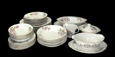 Hira Fine China Set for Six with Serving Pieces Made in Japan c1970's  Bring a touch of spring to your holiday table with this wonderful set of fine china for six people.  ... #vintage #etsy #gifts