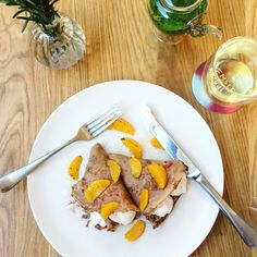 Beautiful, fragrant and delicious! Our Chestnut Flour Pancakes served with Orange Blossom Coconut Yoghurt Hemsley And Hemsley, No Flour Pancakes, Recipe Of The Day, Smoothies, Good Food, Coconut, Cheese, Meals, Orange Blossom