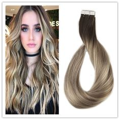 Tape in Human Hair Extensions 20 Pieces Invisiable Remy Tape Hair Ombre 3/8/22 #FullShine #Ombr