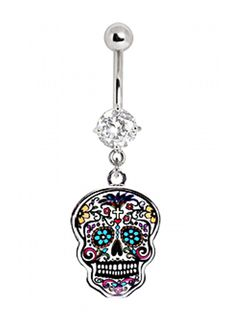 Surgical Steel Navel Ring with Floral Sugar Skull by Every Body Jewelry #InkedShop #skull #navelring #sugarskull #bellybuttonring #jewelry #bodyjewelry #bodmod