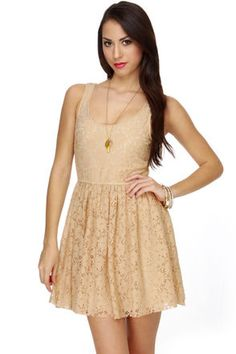 BB Dakota by Jack Azura Beige Lace Dress | Lace, Wedding guest ...