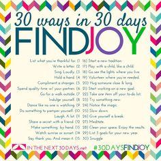 30 ways in 30 days ~ Find Joy